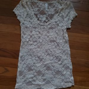 FinalpriceBozzolo sexy lace shirt pajama top cream